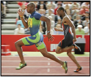 High-knees sprinting (at the second sprinter you can also notice very bended knees just before pulling knees up)